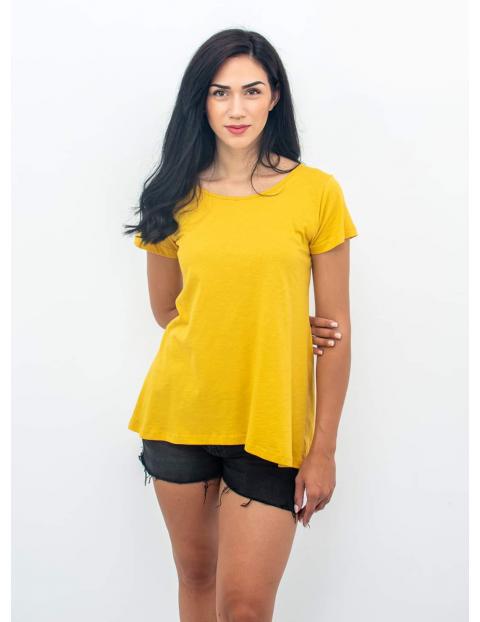 T-Shirt Κίτρινο με Ραφές Πίσω
