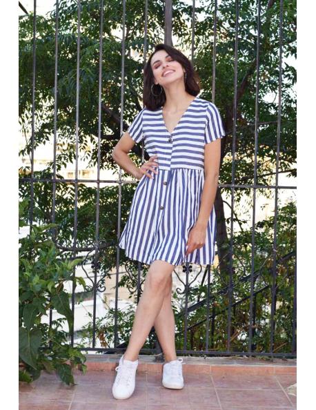 Ριγέ Μίνι Φόρεμα