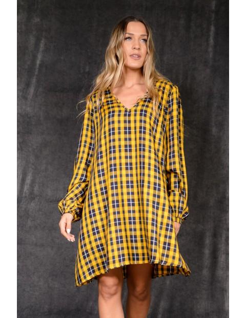 Κίτρινο Καρό Φόρεμα