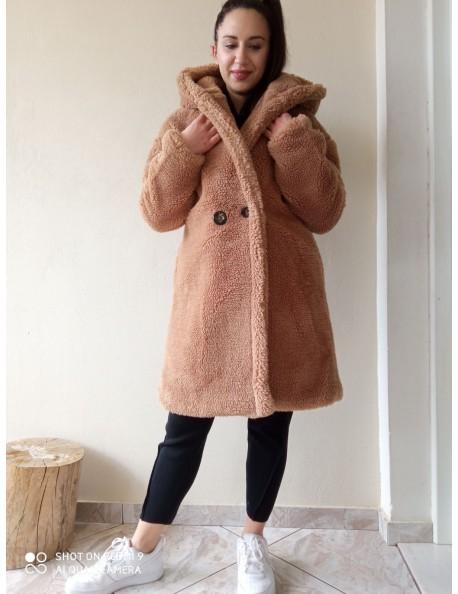 Teddy Coat με Κουκούλα