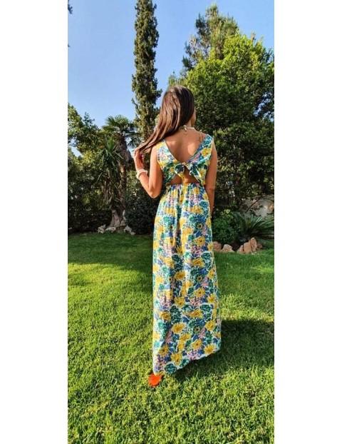 Φόρεμα μάξι floral με ανοιχτή πλάτη