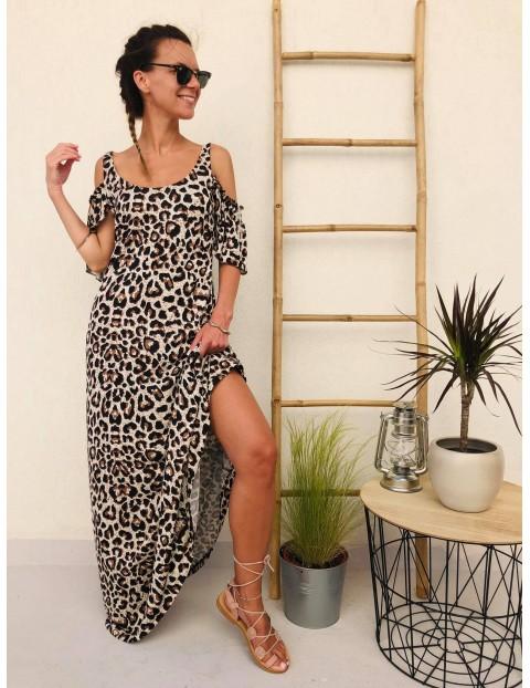 Φόρεμα maxi animal print με  panta και ακάλυπτους ώμους