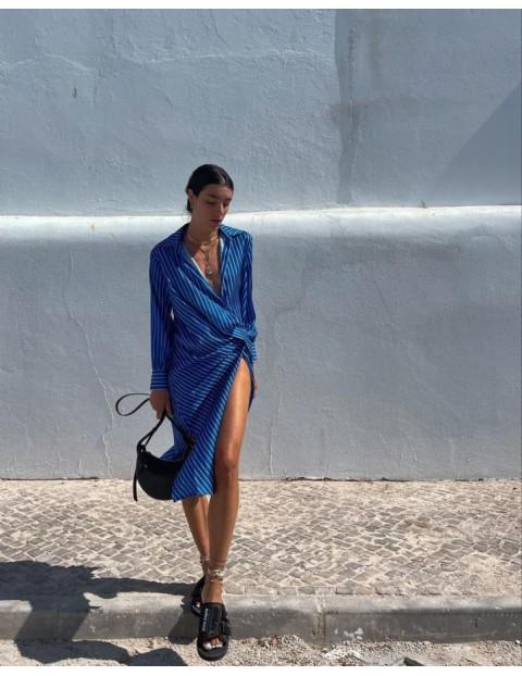 Φόρεμα κρουαζέ σατέν ριγέ
