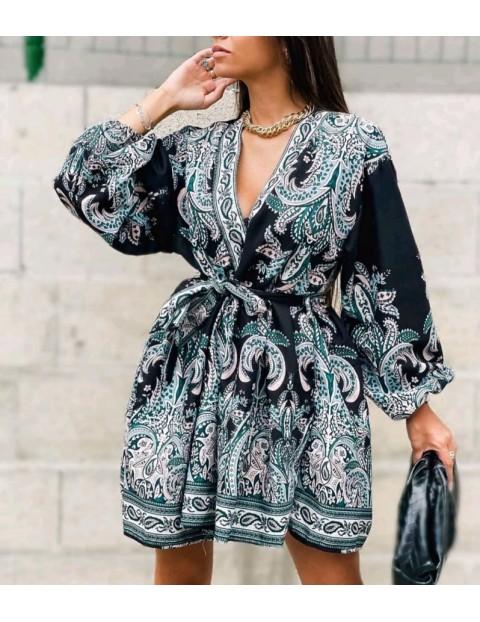 Φόρεμα κοντό εμπριμέ με λαχούρια