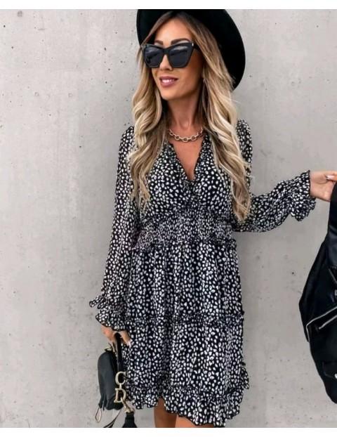 Φόρεμα κοντό εμπριμέ ζορζέτα