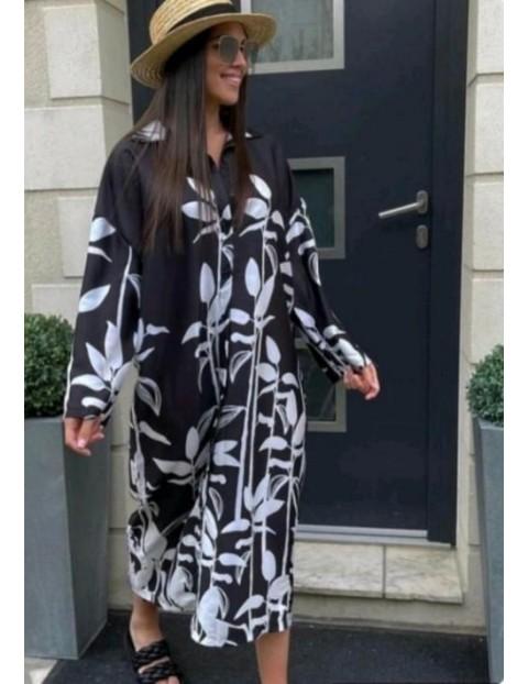 Φόρεμα σεμιζιέ μακρύ σατέν εμπριμέ μαυρόασπρο