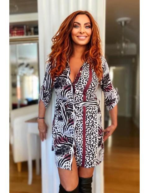 Φόρεμα πουκαμίσα κοντό animal print