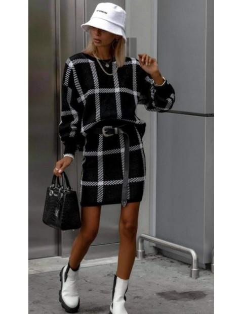 Σετ πλεκτό καρό φούστα-μπλούζα