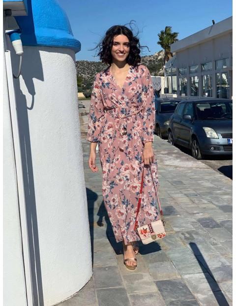 Μάξι φόρεμα floral με ζωνάκι
