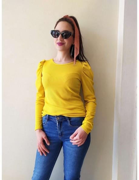 Μπλουζάκι με σούρες Κίτρινο