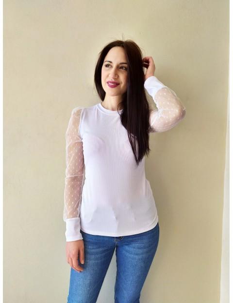 Μπλουζάκι λευκό με δίχτυ πουά μανίκια