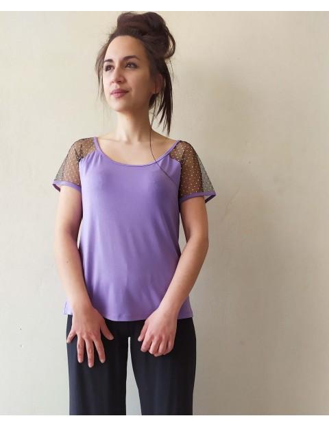 Μπλουζάκι με μανίκι δίχτυ μαύρο & λιλά