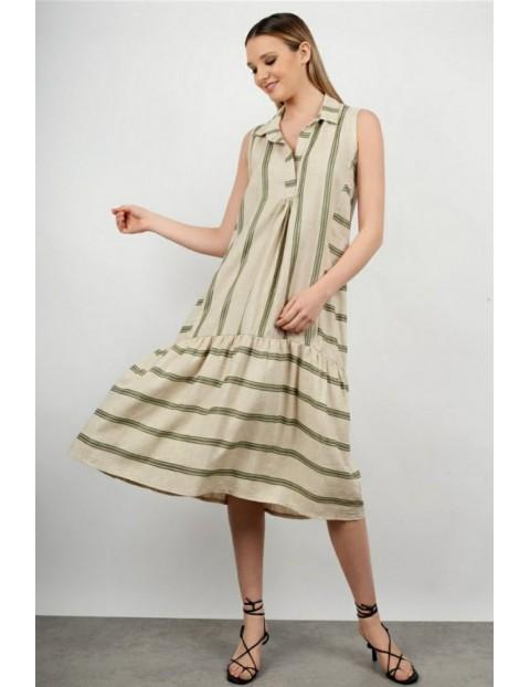 Φόρεμα Ριγέ Αμάνικο