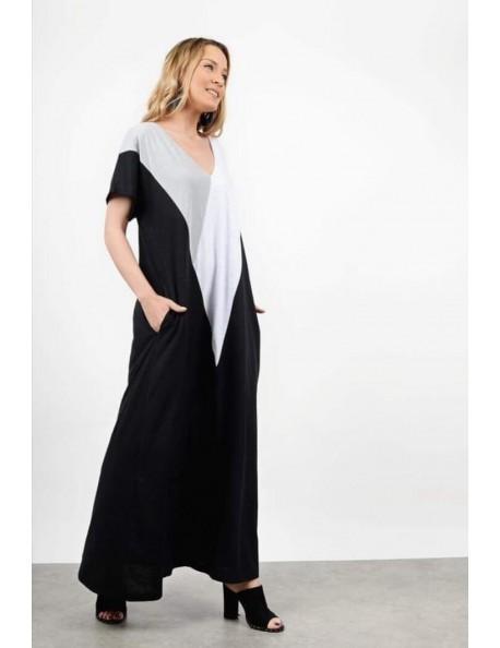 Τρίχρωμο Μακρύ Φόρεμα